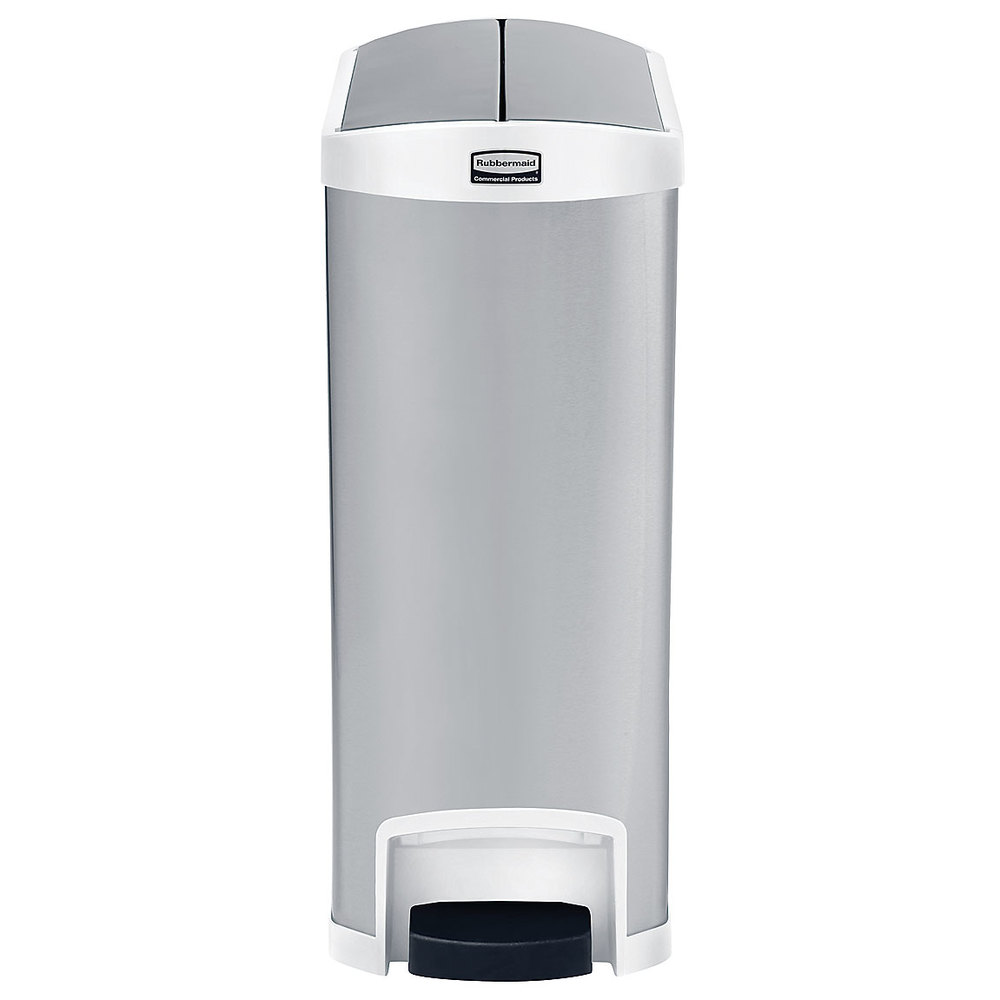 Rubbermaid slim jim stainless steel white accent