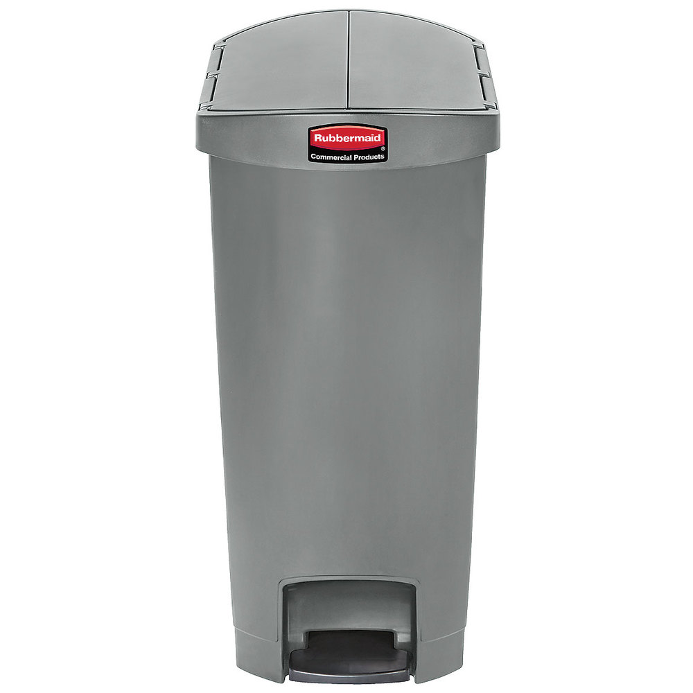 rubbermaid 1883603 slim jim resin gray end step on trash can with rigid plastic liner 13 gallon. Black Bedroom Furniture Sets. Home Design Ideas