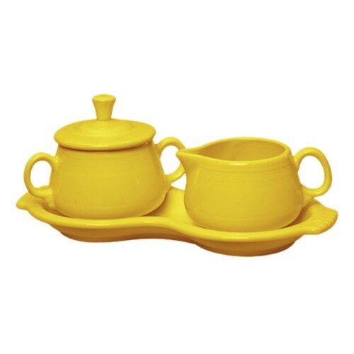 Homer Laughlin 821320 Fiesta Sunflower Sugar and Cream Tray Set - 4 Sets / Case