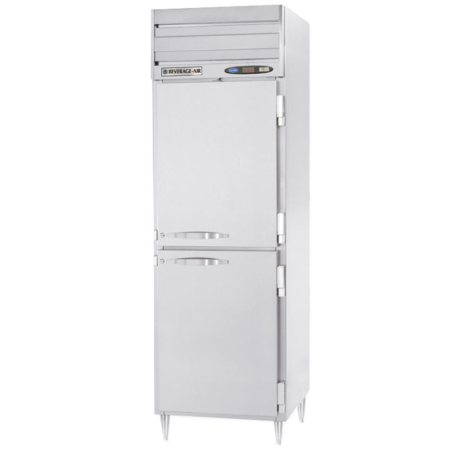 Beverage Air PRF12-12-1HS-02 1 Section Half Door Dual Temperature Reach-In - 18 cu. ft., Stainless Steel