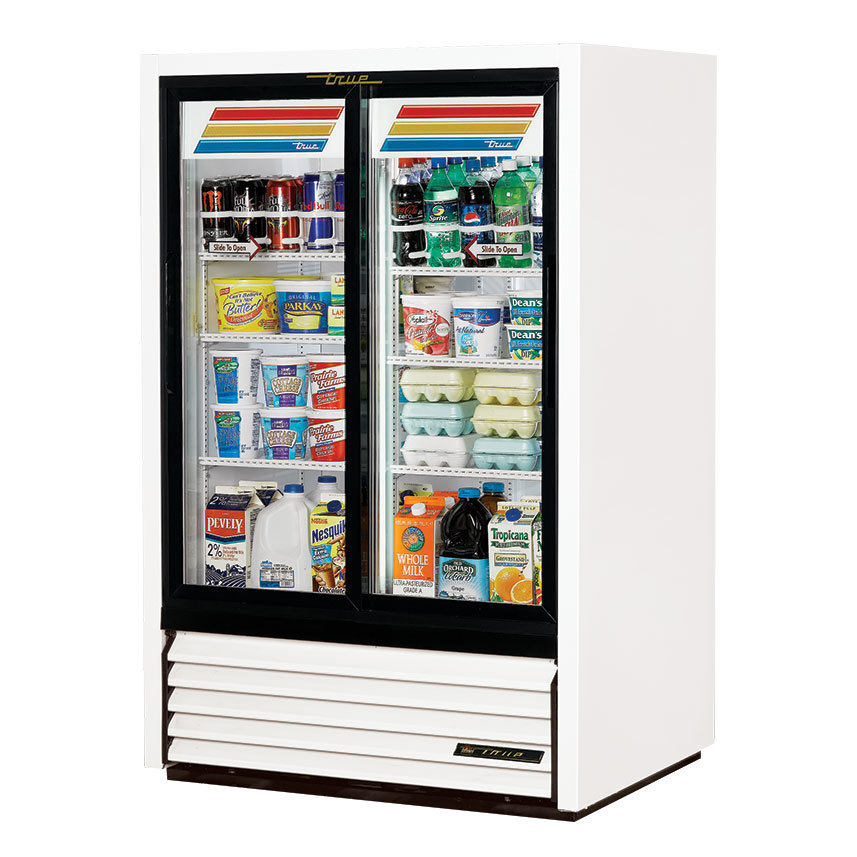True GDM-33CPT-54 Low Profile Narrow Sliding Door Pass Through Glass Door Merchandiser Refrigerator - 15 Cu. Ft.