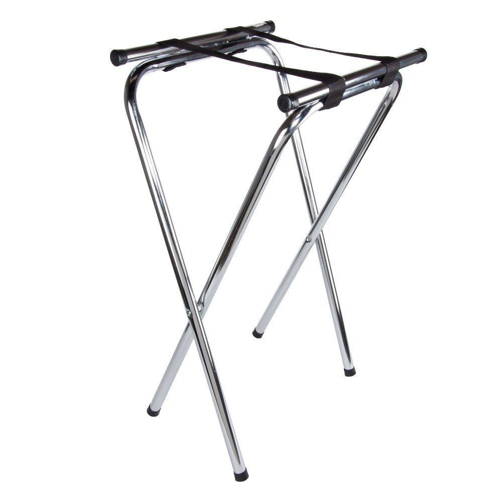 19 inch X 16 inch X 31 inch Folding Chrome Double Bar Tray Stand