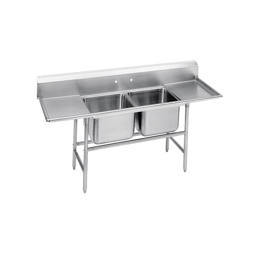 Advance Tabco 94-82-40-24RL Spec Line Two Compartment Pot Sink with Two Drainboards - 93""