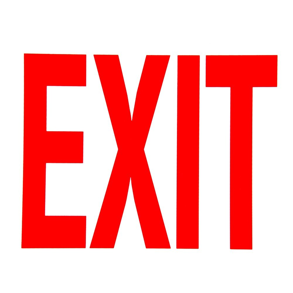 Red on White Glow-in-the-Dark Exit Sign Adhesive Label - 8 quot  x 12 quot Red Exit Sign