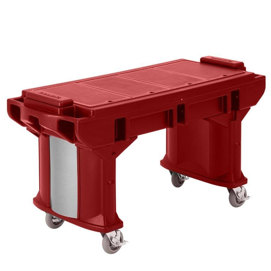 Cambro VBRTLHD5158 Hot Red 5' Versa Work Table with Heavy Duty Casters - Low Height