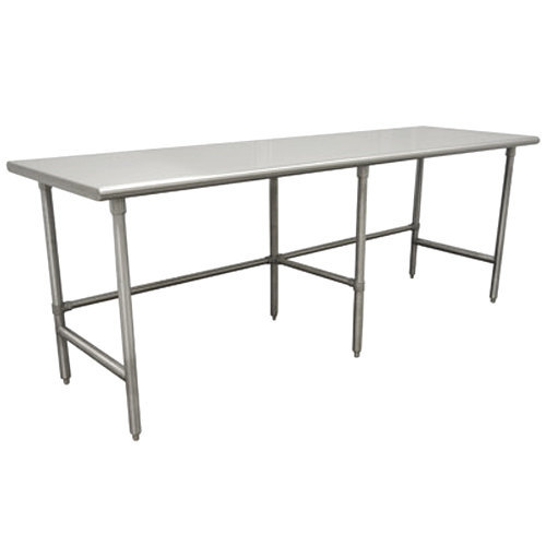 "Advance Tabco TGLG-489 48"" x 108"" 14 Gauge Open Base Stainless Steel Commercial Work Table"