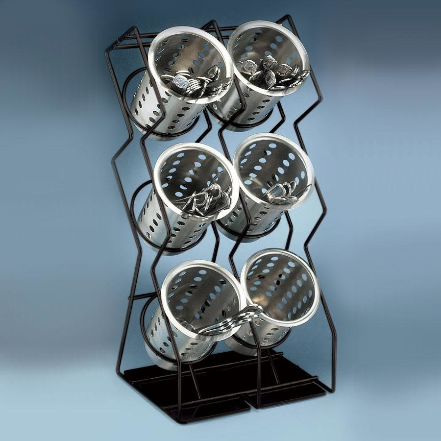 Cal Mil 1025-6-13 Black 6-Hole Space Saver Wire Silverware Display