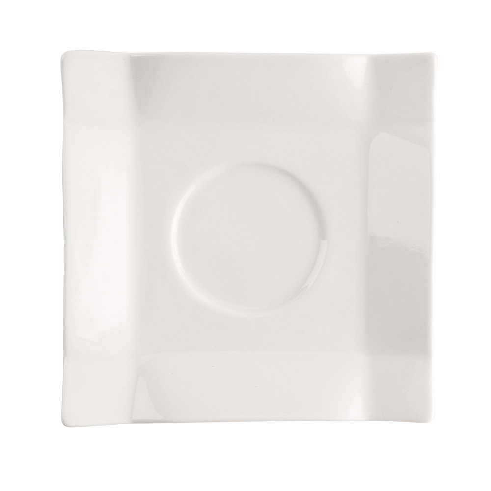 "CAC TMS-2 Times Square 5"" Bright White Square China Saucer - 36/Case"