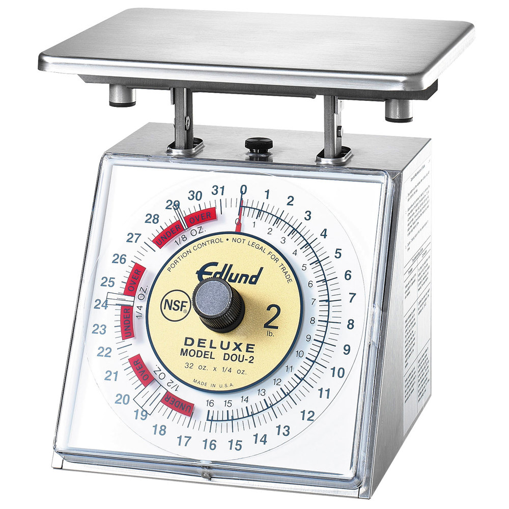 "Edlund DOU-2 Deluxe 32 oz. Heavy-Duty Over / Under Portion Scale with 7"" x 8 3/4"" Platform"