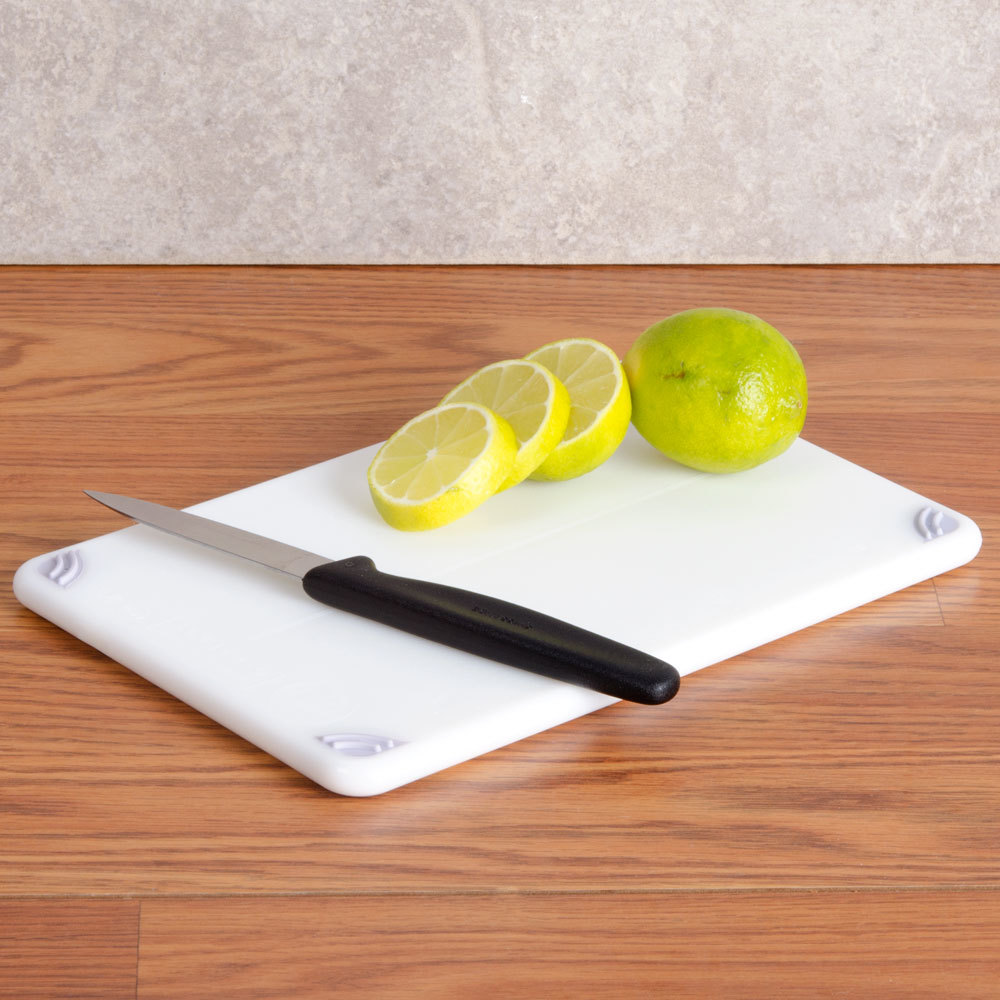"San Jamar CBG6938WH White Saf-T-Grip 6"" x 9"" x 3/8"" Non-Slip Grip Cutting Board - Bar Size"
