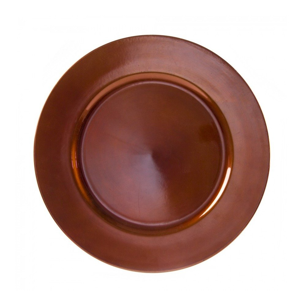 "10 Strawberry Street LACPR-24 13"" Lacquer Round Copper Charger Plate - 24/Case"
