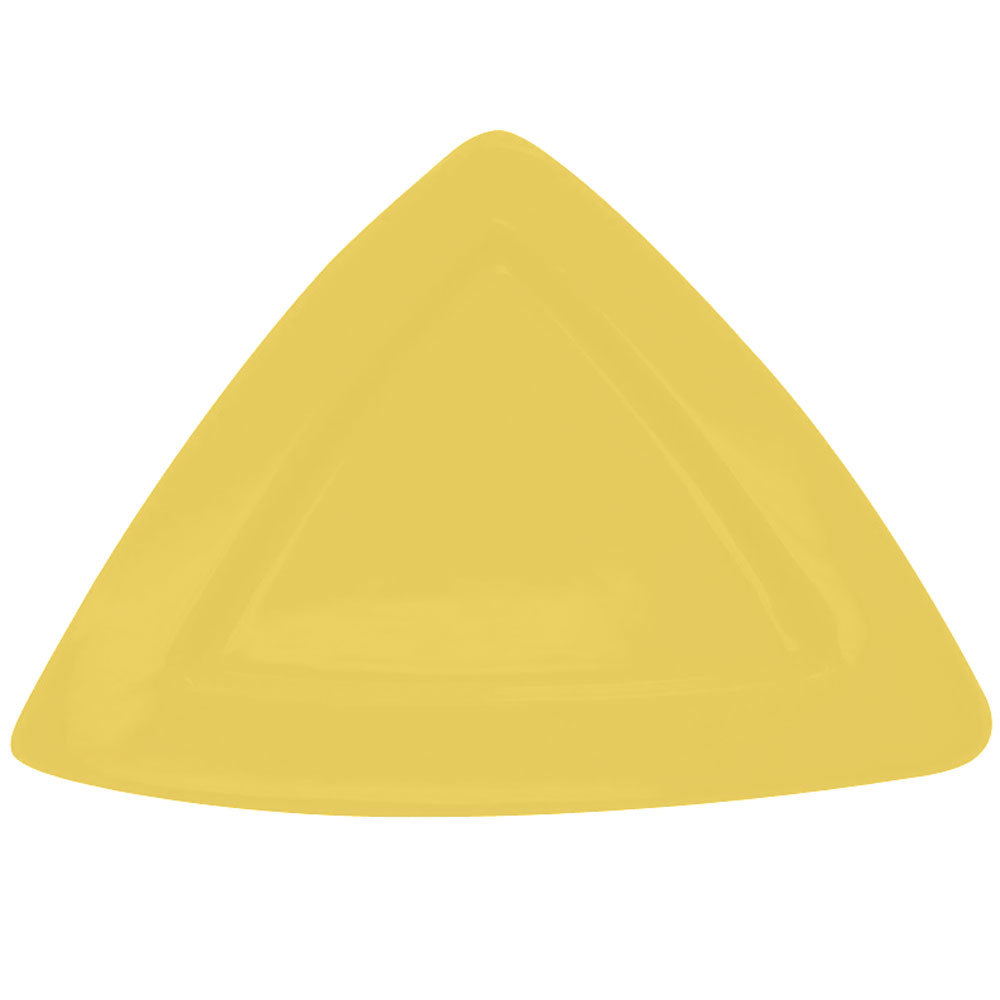 "CAC TRG-12YLW Festiware Triangle Deep Plate 11 1/2"" - Yellow - 12/Case"
