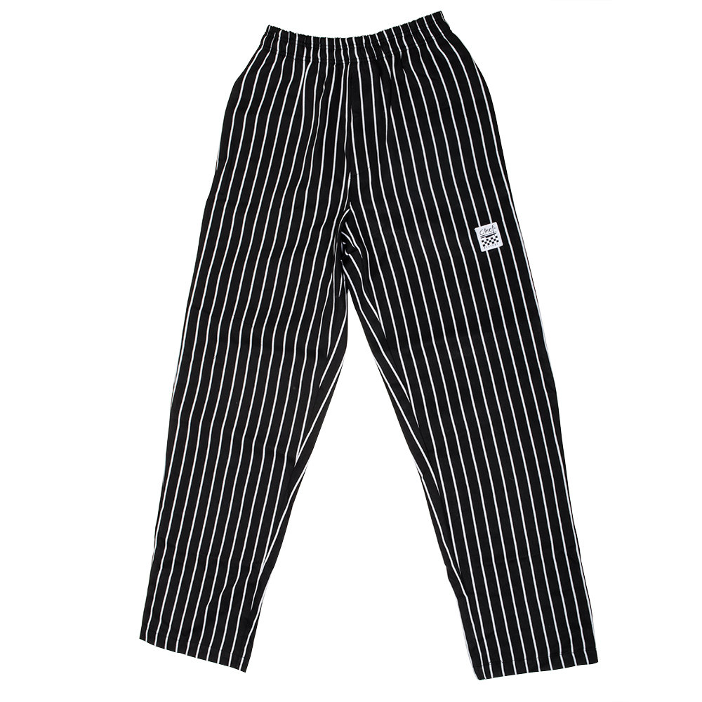 Chef Revival P040WS Size 3X Black EZ Fit Chef Pants with White Pinstripes - Poly-Cotton Blend