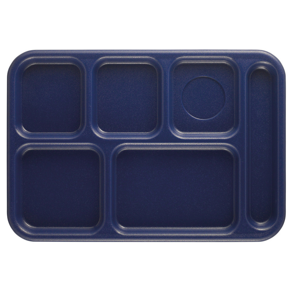 "Cambro 10146CW186 Camwear 10"" x 14 1/2"" Navy Blue 6 Compartment Serving Tray - 24/Case"
