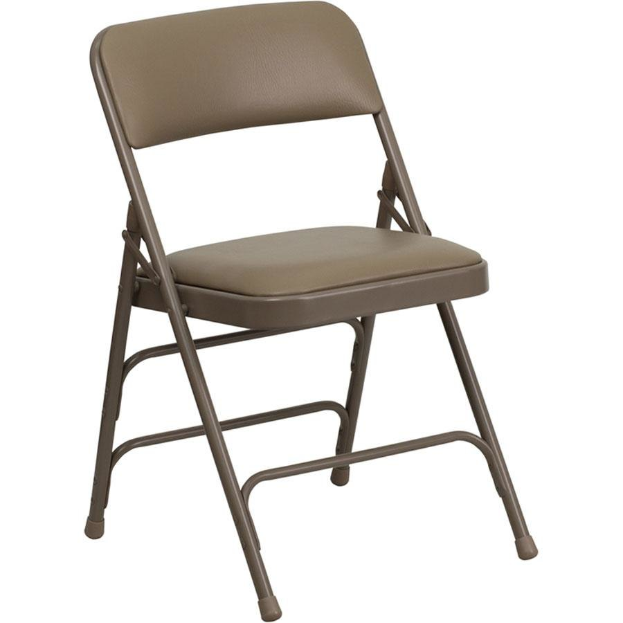 "Beige Metal Folding Chair with 1"" Padded Vinyl Seat"