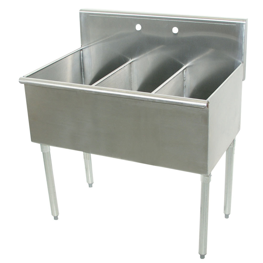 ... Tabco 4-3-72 Three Compartment Stainless Steel Commercial Sink - 72