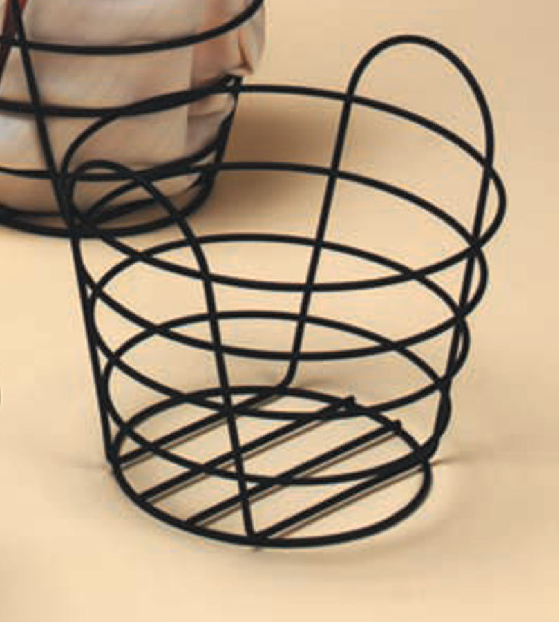 "American Metalcraft BWB970 Round Black Wire Basket with Handles - 9"" x 7"""