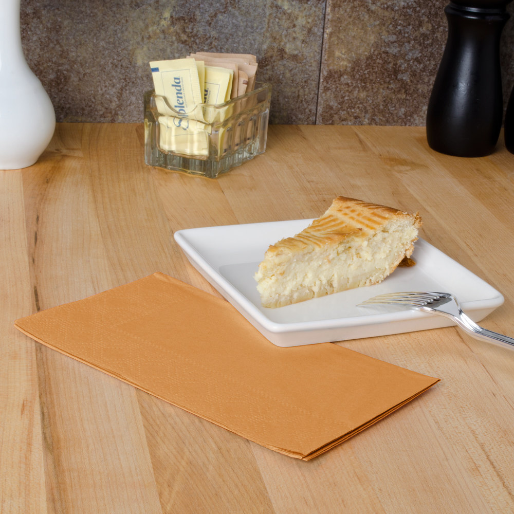 "Hoffmaster 180545 Glittering Gold 15"" x 17"" Paper Dinner Napkins 2-Ply - 125 / Pack"