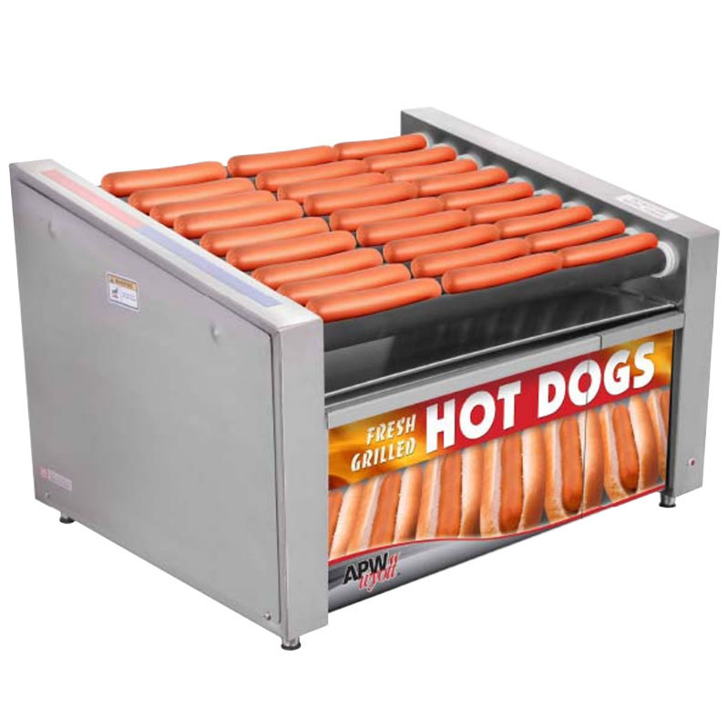 "APW Wyott HR-50BW 35"" Hot Dog Roller Grill with Chrome Plated Rollers and Bun Warmer - 120V"