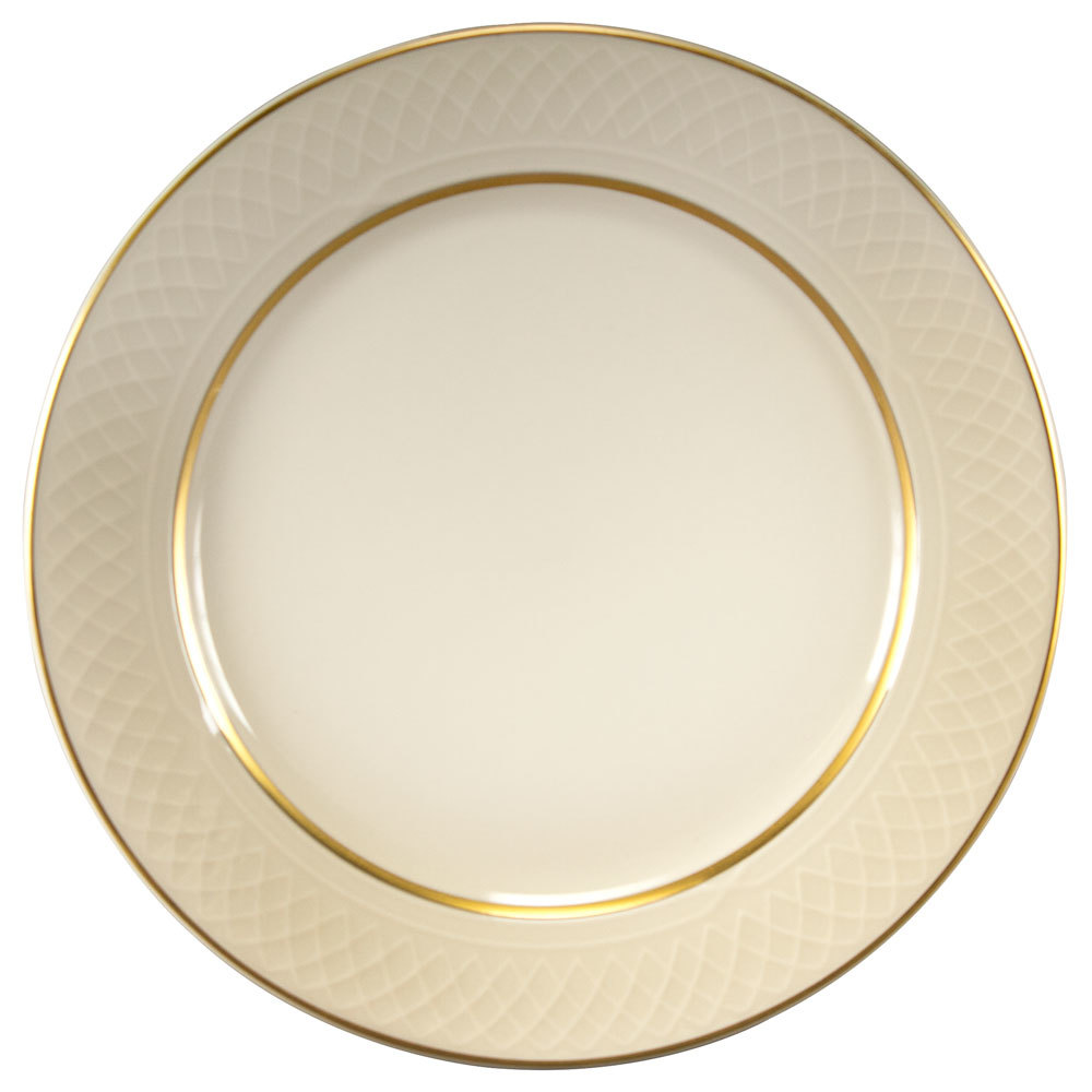 "Homer Laughlin 1420-0338 Westminster Gothic Off White 9 7/8"" Plate - 24/Case"