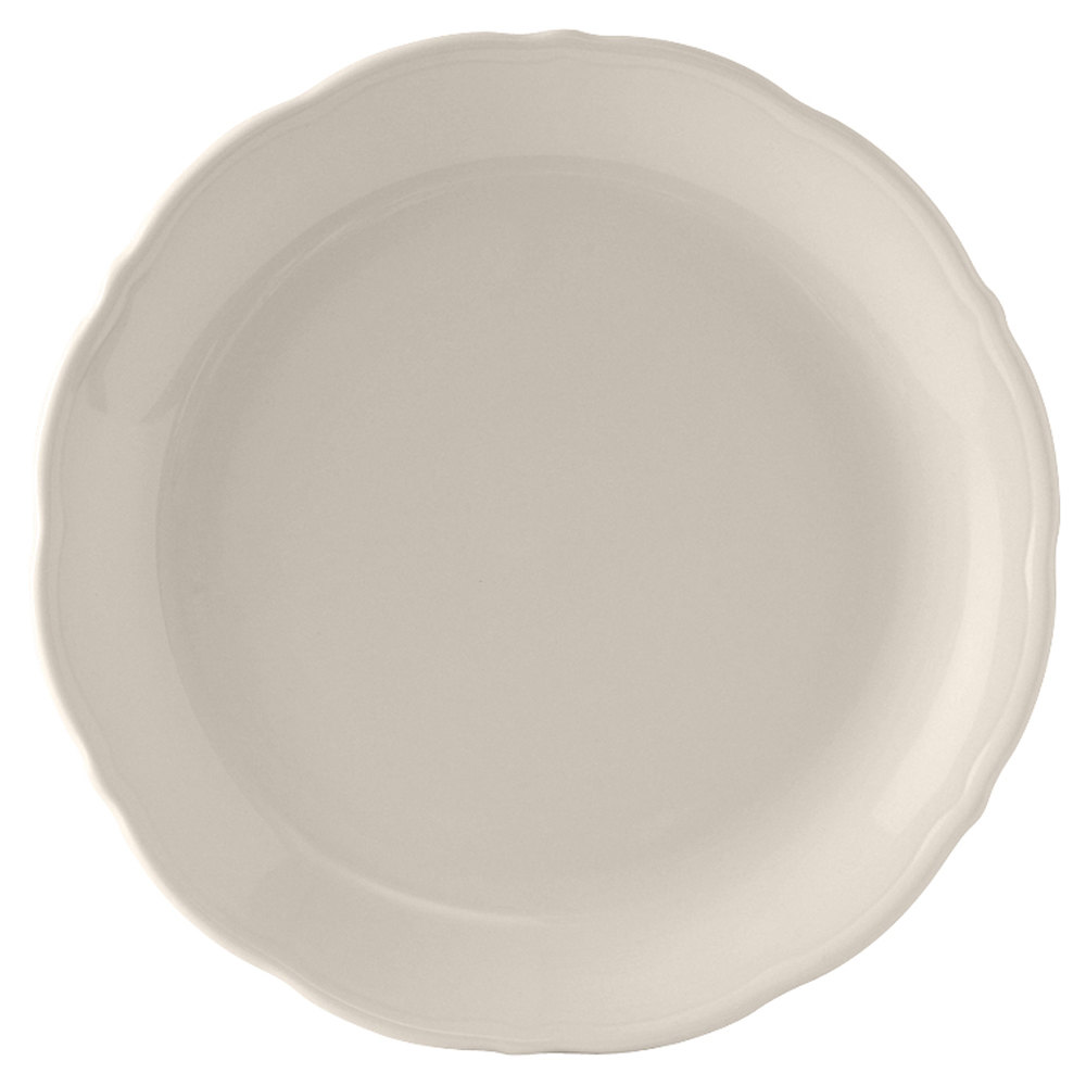 "Tuxton SEA-100 DuraTux Seabreeze 10"" Ivory (American White) China Plate - 12/Case"