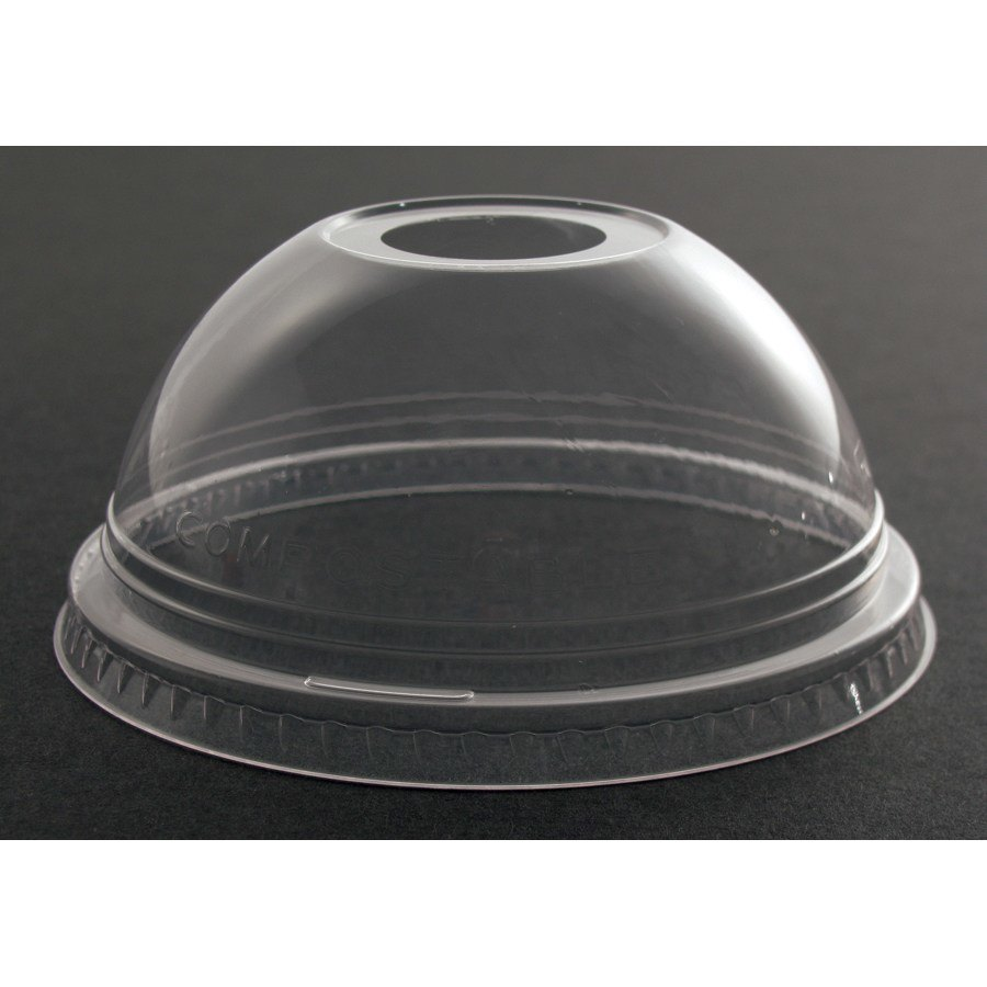 Fabri-Kal Greenware DLGC16/24 Compostable Clear Dome Lid with 1 inch Hole 100 / Pack