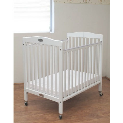 "L.A. Baby CW-883A The Little Wood Crib 24"" x 38"" White Mini / Portable Folding Wood Crib with 3"" Vinyl Covered Mattress"