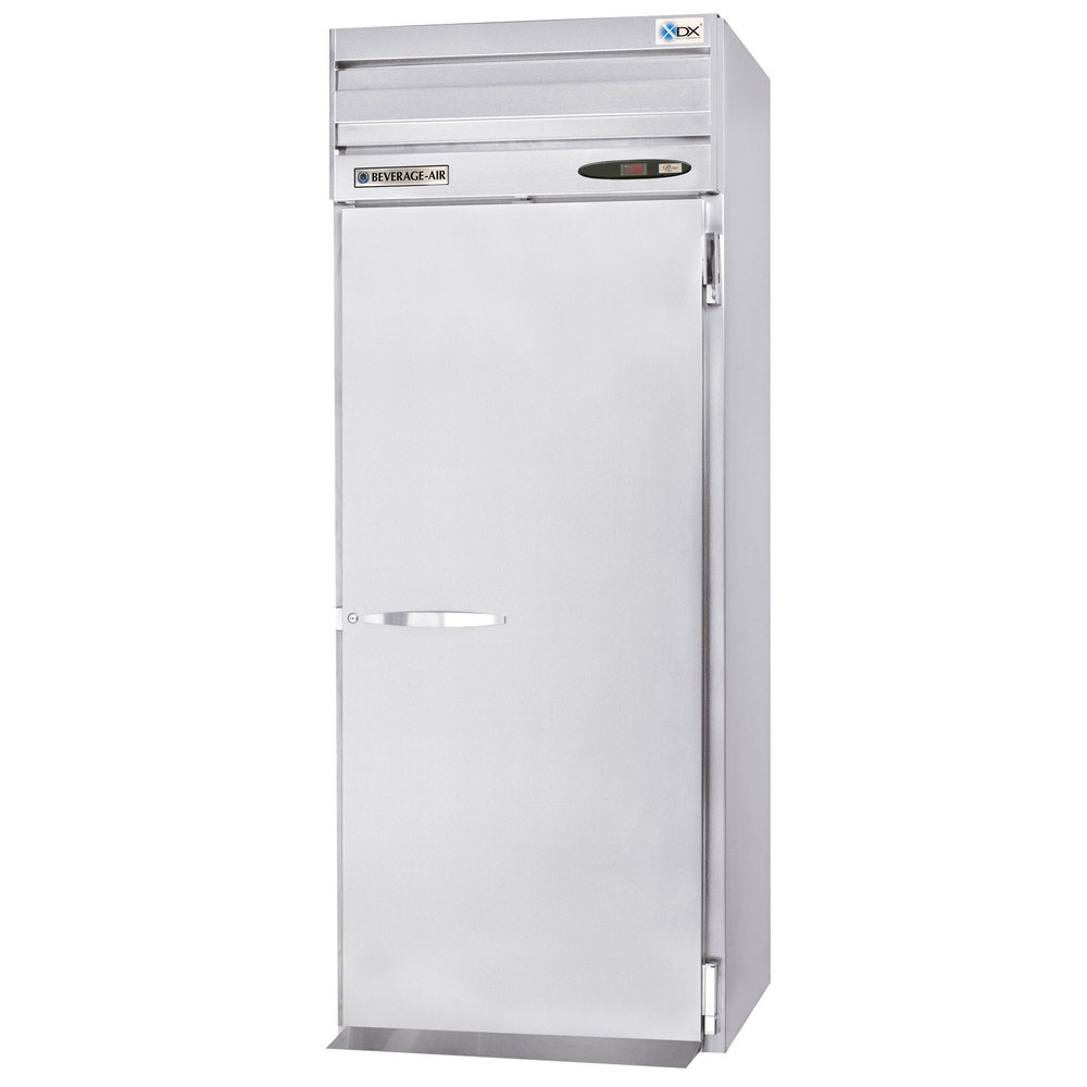 Beverage Air PRT1-1AS 1 Section Solid Door Roll Thru Refrigerator - 37 cu. ft., Stainless Steel
