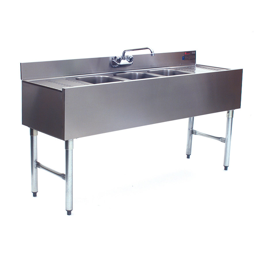 Eagle Group B5C-18 3 Bowl Under Bar Sink With Two 13 inch Drainboards and Splash Mount Faucet 60 inch Long