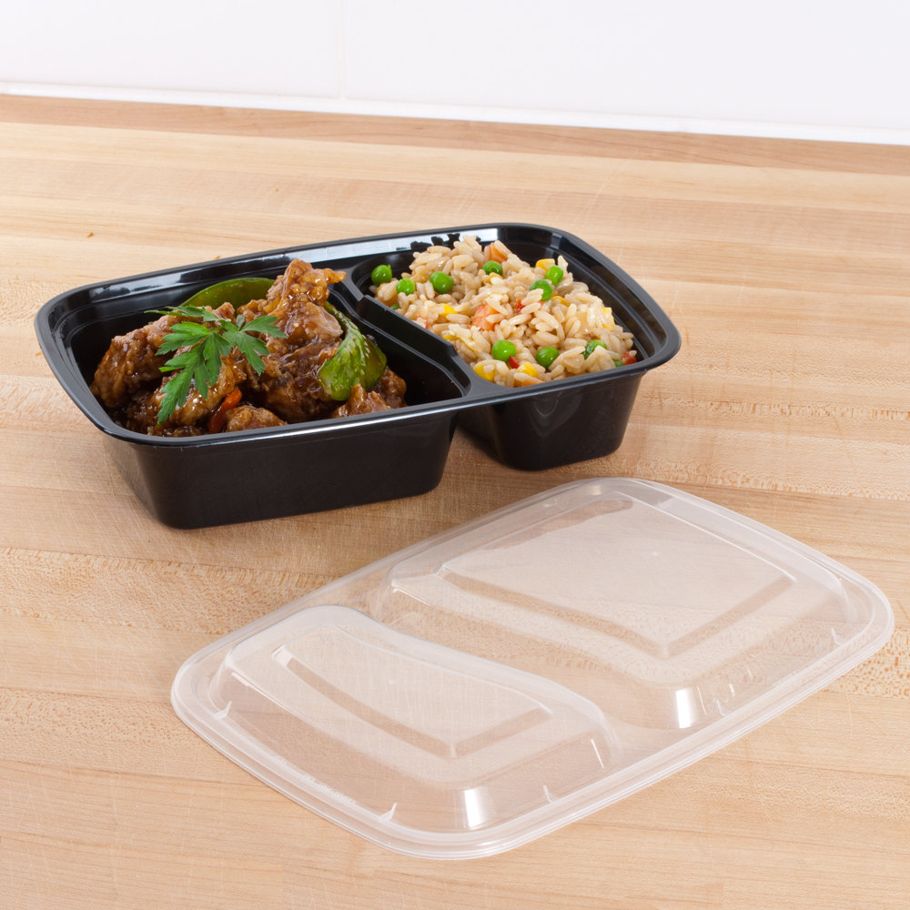 "Black 30 oz. 8 1/2"" x 6"" x 1 7/8"" Two Compartment Rectangular Microwavable Container with Lid - 150 / Case"