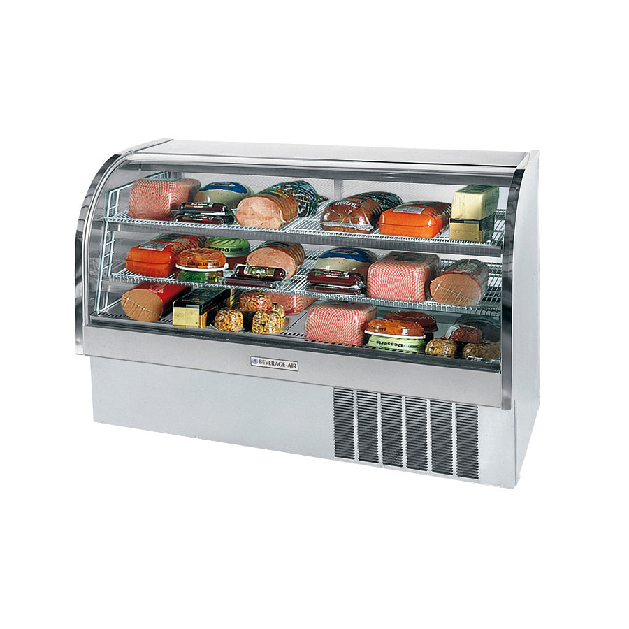 Beverage Air (Bev Air) CDR6/1-S Stainless Steel Finish Curved Glass Refrigerated Bakery Display Case 73 inch - 2