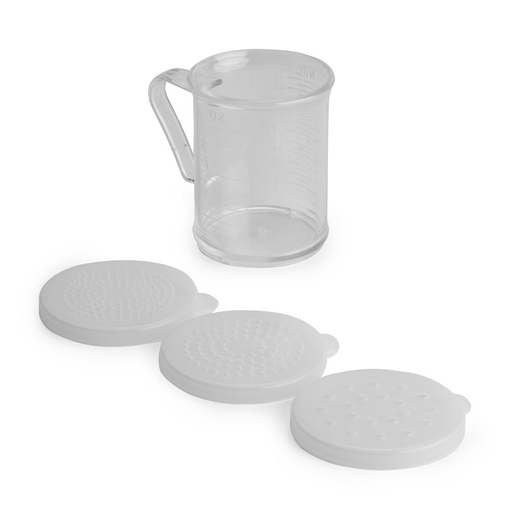 10 oz. Plastic Shaker with Handle and 3 Lids