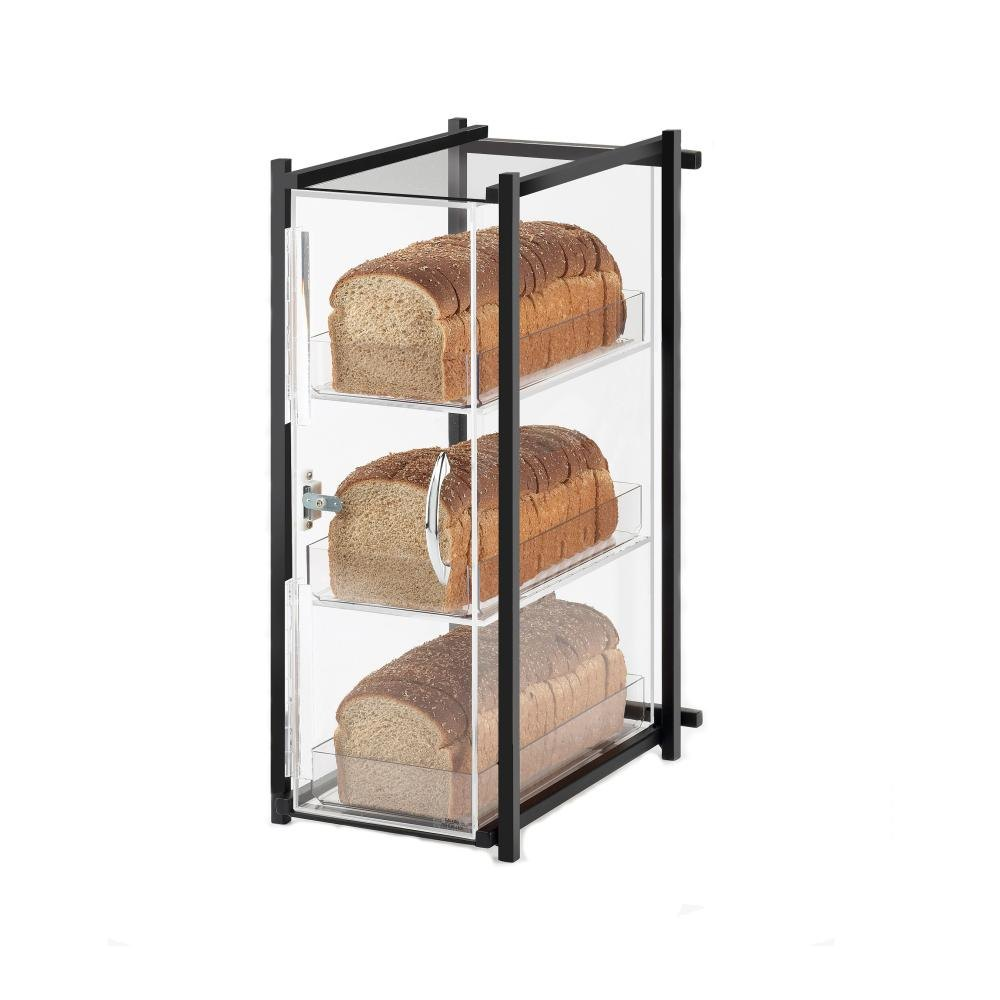 Cal Mil 1155-13 Black One by One Three-Tier Bread Case - 9 1/2 inch x 14 1/4 inch x 19 3/4 inch