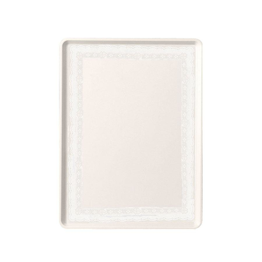 "Cambro 1520D246 15"" x 20"" Doily Lite Peach Patterned Dietary Tray - 12/Case"