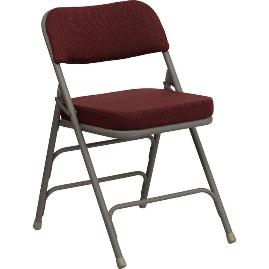"Burgundy Metal Folding Chair with 2 1 2"" Padded Fabric Seat"