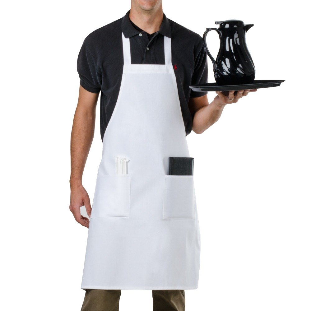 Choice 34 inchL x 30 inchW White Full Length Bib Apron