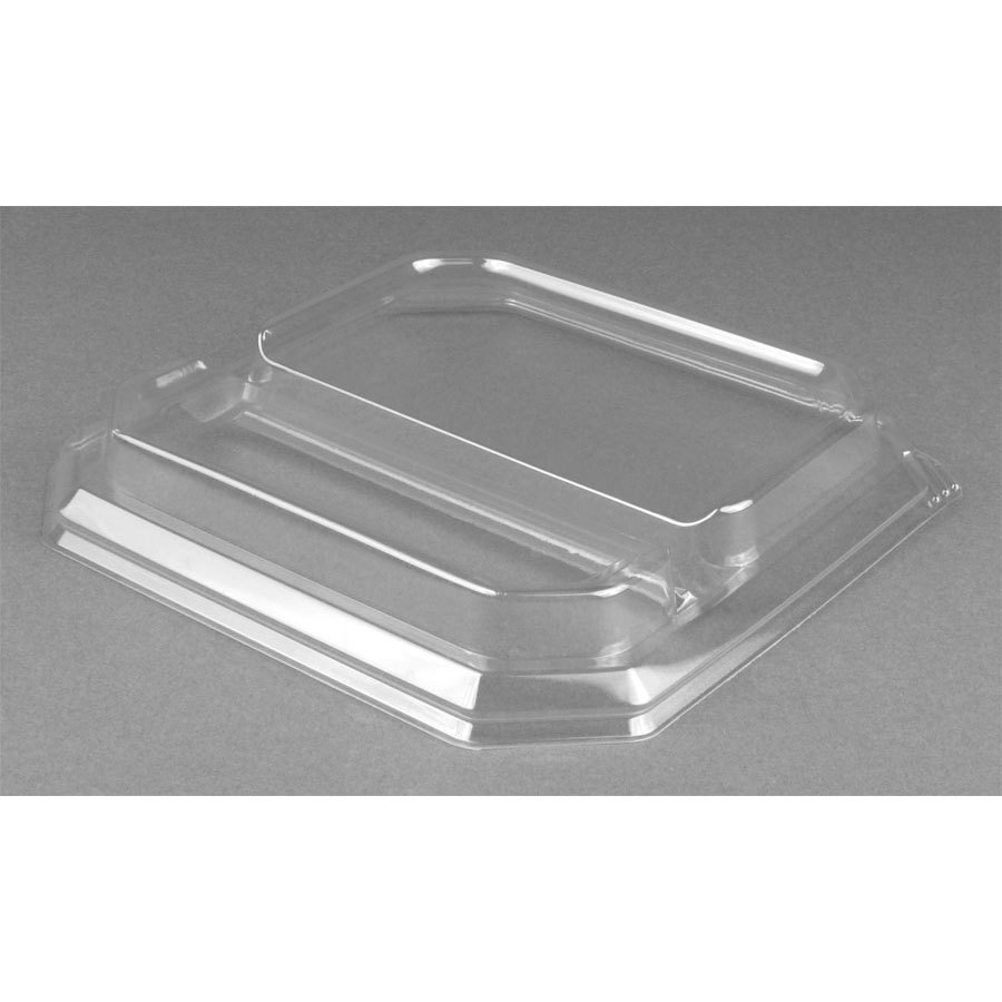 "Genpak SQ92 9"" Clear Square 2 Compartment Dome Lid for Square Plate 200 / Case"