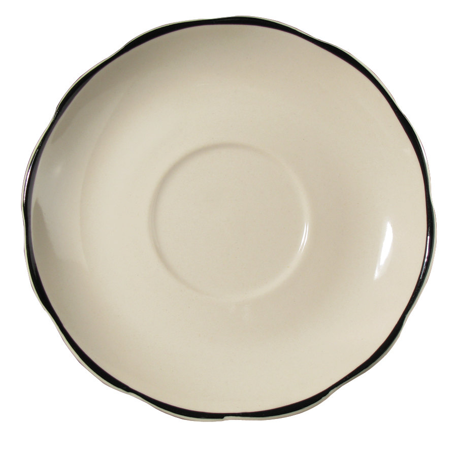 "CAC SC-36B 4 1/2"" Scalloped Edge Ivory Seville China Saucer with Black Band 36 / Case"