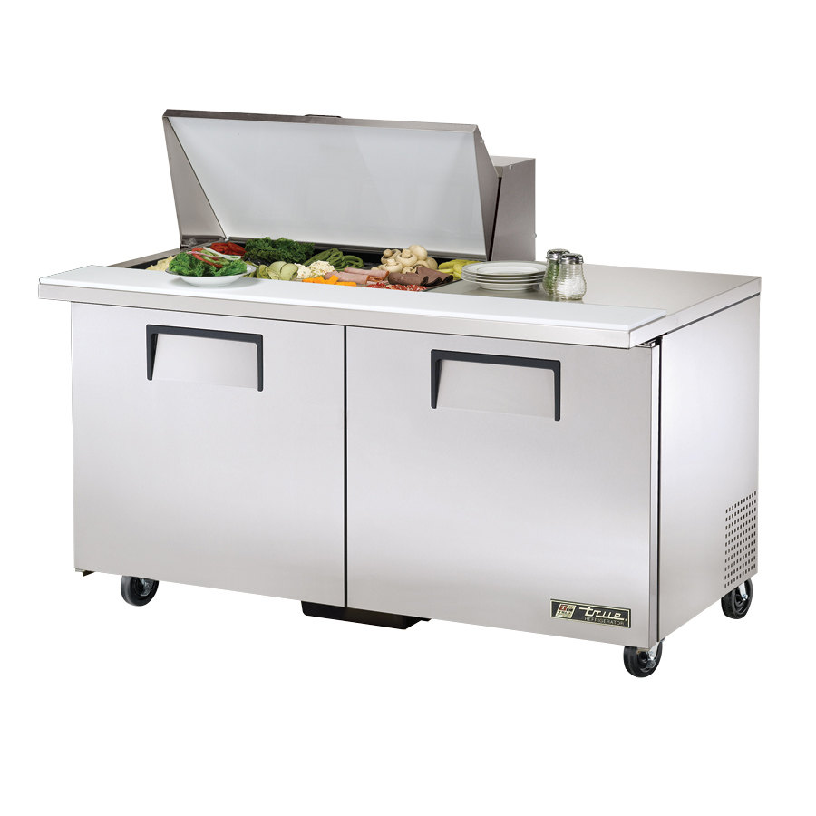 True TSSU-60-15M-B 60 inch Mega Top Two Door Sandwich / Salad Prep Refrigerator - Fifteen Pans