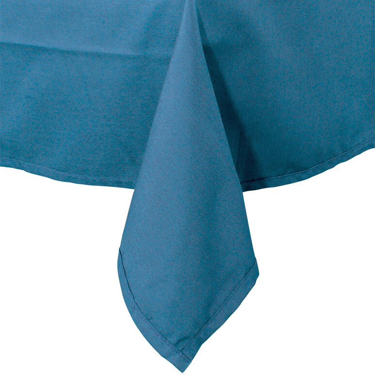 90 inch x 90 inch Light Blue 100% Polyester Hemmed Cloth Table Cover