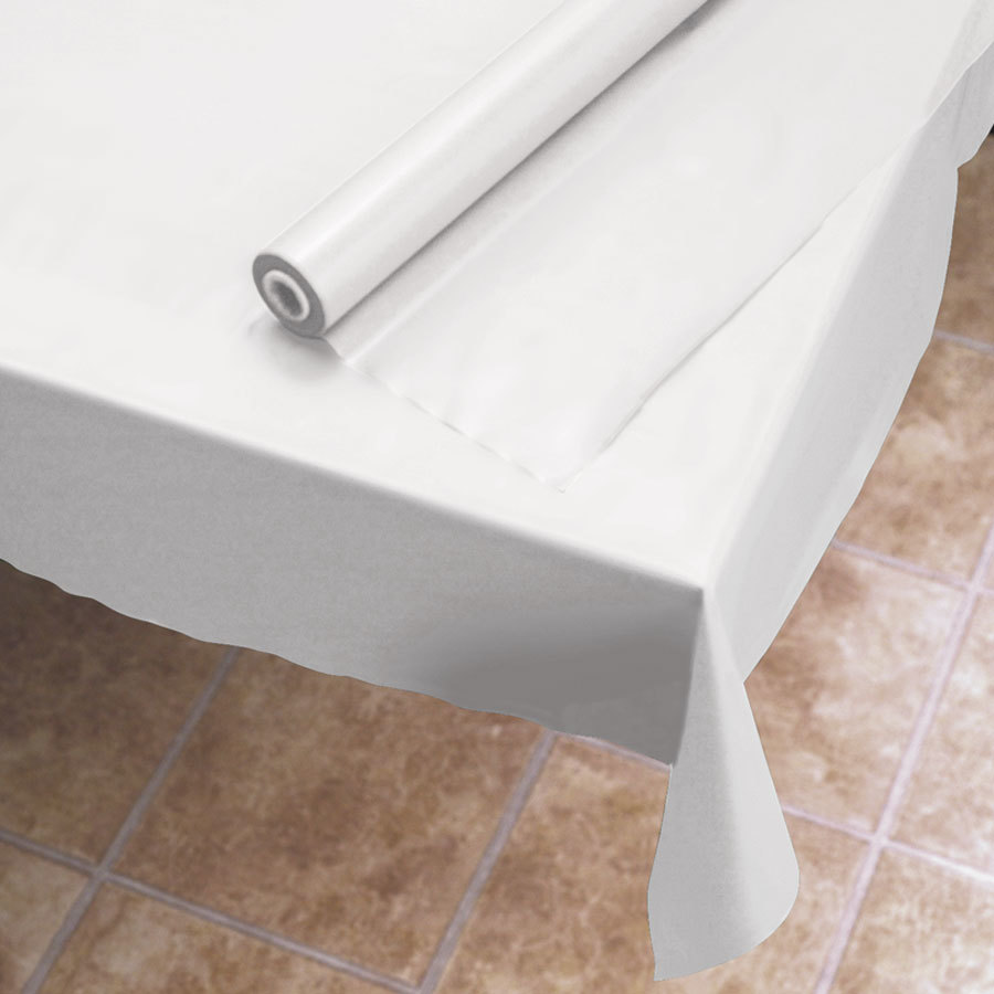 Hoffmaster 114000 White 40 inch Wide Plastic Roll Table Cover