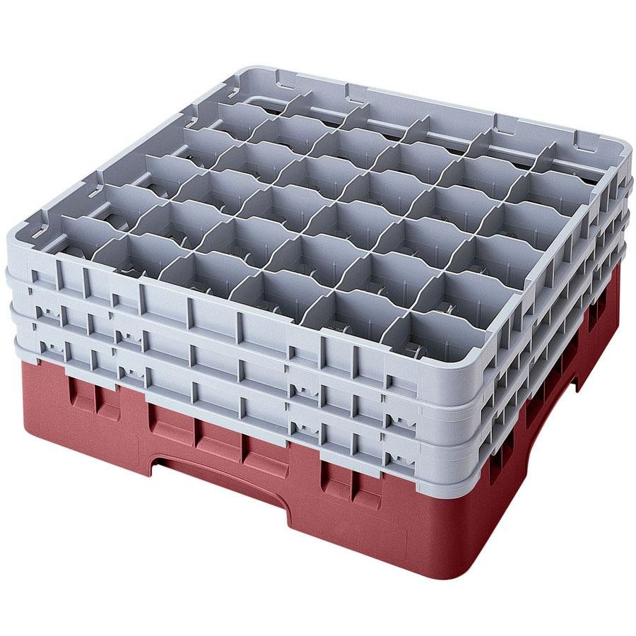 "Cambro 36S1114163 Red Camrack 36 Compartment 11 3/4"" Glass Rack"