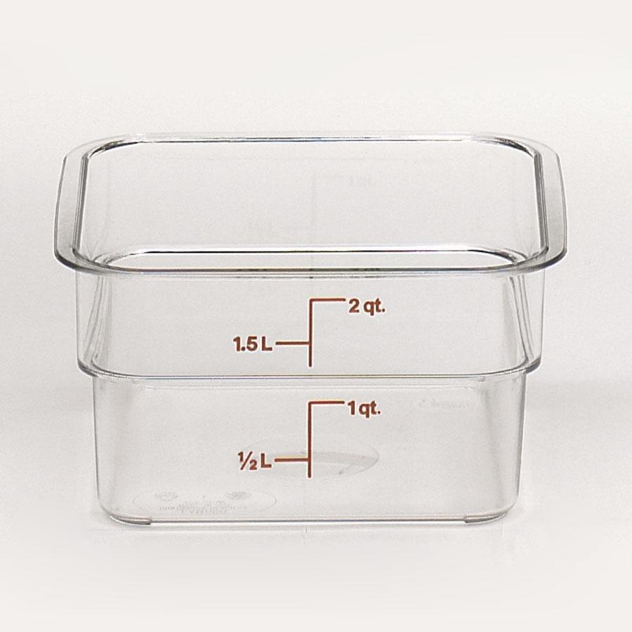 Cambro 2SFSCW 2 Qt. Square Food Storage Container