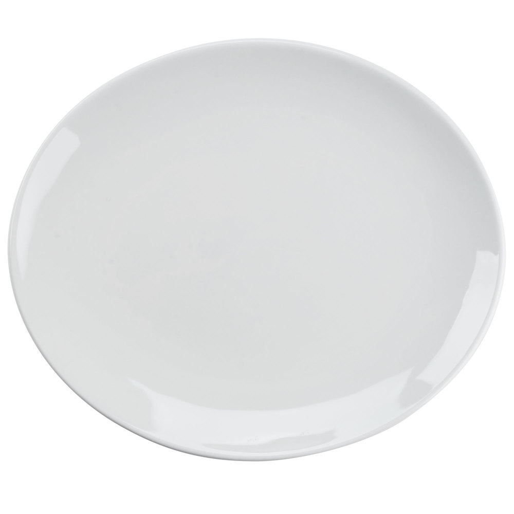 "Tuxton VPH-130 Florence 13 1/4"" x 11 1/4"" Bright White Coupe Oval China Platter - 12/Case"