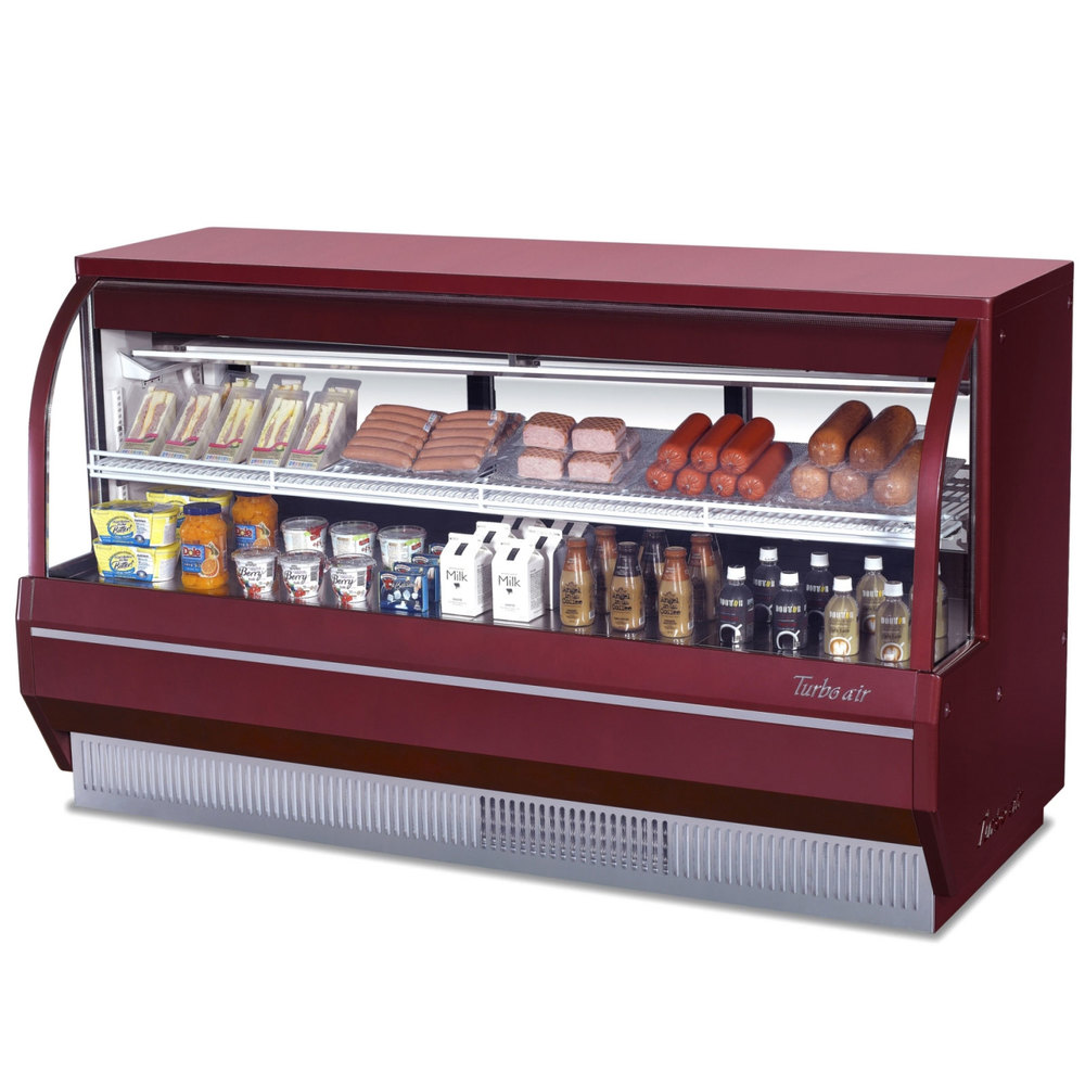 "Turbo Air TCDD-72-2-L Red 72"" Curved Glass Refrigerated Deli Case - 14.2 Cu. Ft."