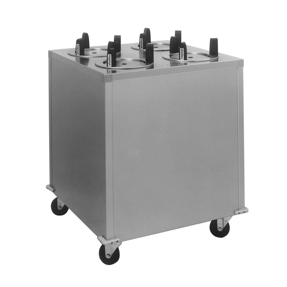 "Delfield CAB4-913QT Quick Temp Mobile Enclosed Four Stack Heated Dish Dispenser / Warmer for 8 1/8"" to 9 1/8"" Dishes - 208V"