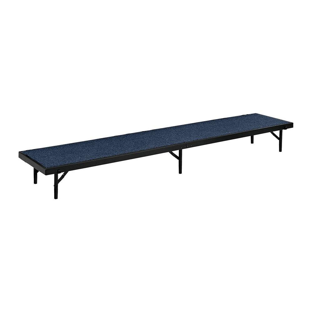 "National Public Seating 386RT8C Blue Carpet Tapered Portable Riser - 18"" x 60"" x 8"""