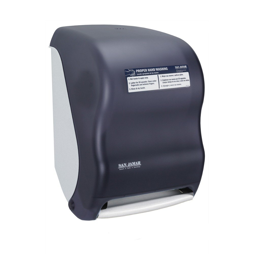 San Jamar T1400TBKHW Smart System Classic Hands Free Roll Towel Dispenser with Hand Washing Instructions - Black Pearl