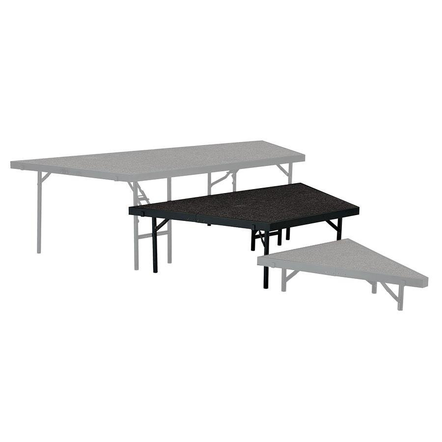"National Public Seating SP4816 Portable Stage Pie Unit with Black Carpet - 48"" x 16"""