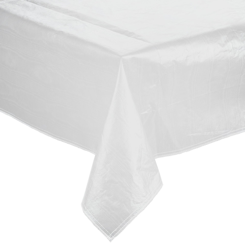 "52"" x 90"" White Vinyl Table Cover with Flannel Back"